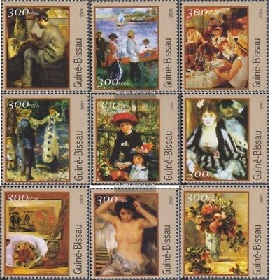Never Hinged 2001 Paintings Alert Guinea-bissau 1624-1632 Unmounted Mint Stamps