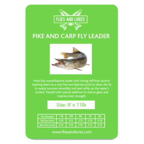 Pike or Carp Fly line leader tapered knotless 12/' multi choice BS 1st Class Post