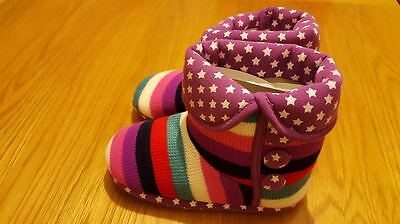 Kids Girls Winter Knitted Slipper Boots Stars Print Christmas Party Gift NEW