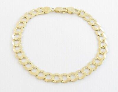 "MENS 8/""10mm CUBAN FLAT CURB Link 14K GOLD GL Chain BraceletGUARANTEE"