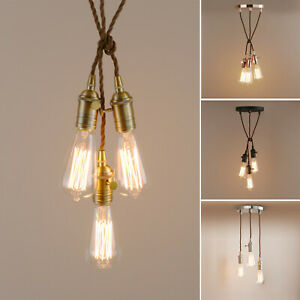 1 3 Light Canopy Ceiling Pendant Fabric Cable Mounting Kit Edison Light Ebay