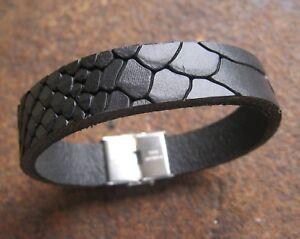 Bueffelleder-Leder-Armband-Herren-schwarz-Maennerarmband-Lederarmband-Edelstahl