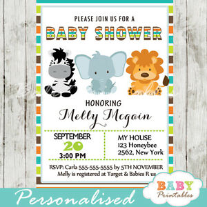 safari jungle theme baby shower invitation for boys printable digital