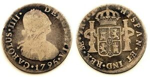 Spain-Carlos-IV-2-Reales-1795-Lima-Plata-5-7-g