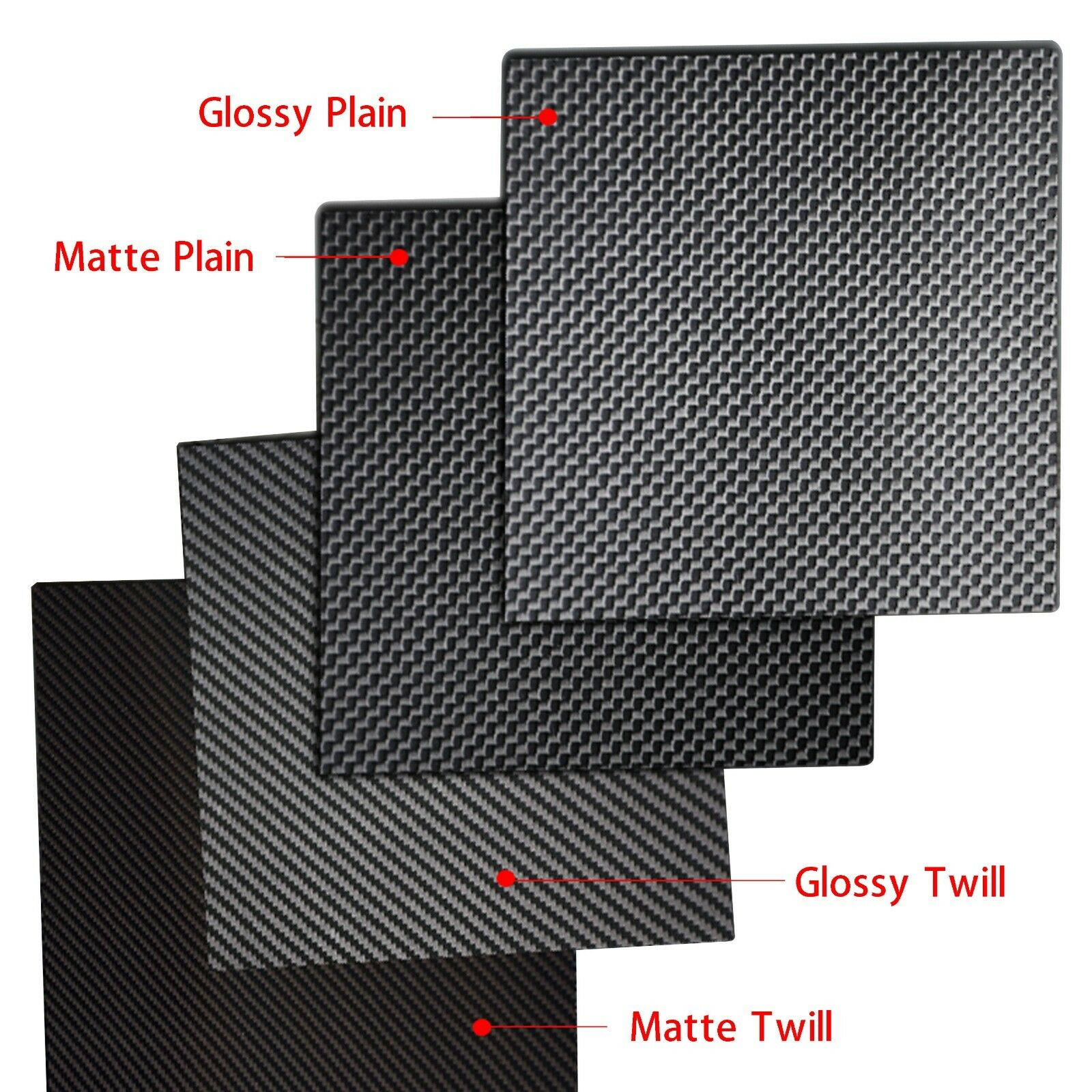 3K Carbon Fiber Plate Panel Sheet  2 Types Weave Matte and Glossy - Select Size