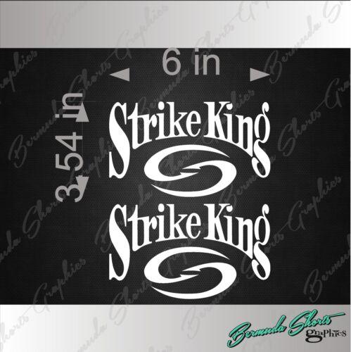 """PAIR STRIKE KING Fishing Logo WHITE 6/"""" Vehicle Vinyl Decal Window Sticker"""
