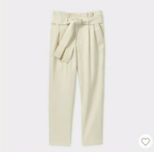 Brave A New Day Plus Size Cream Paper Bag Pants Tie Waist Size 18 Let Our Commodities Go To The World