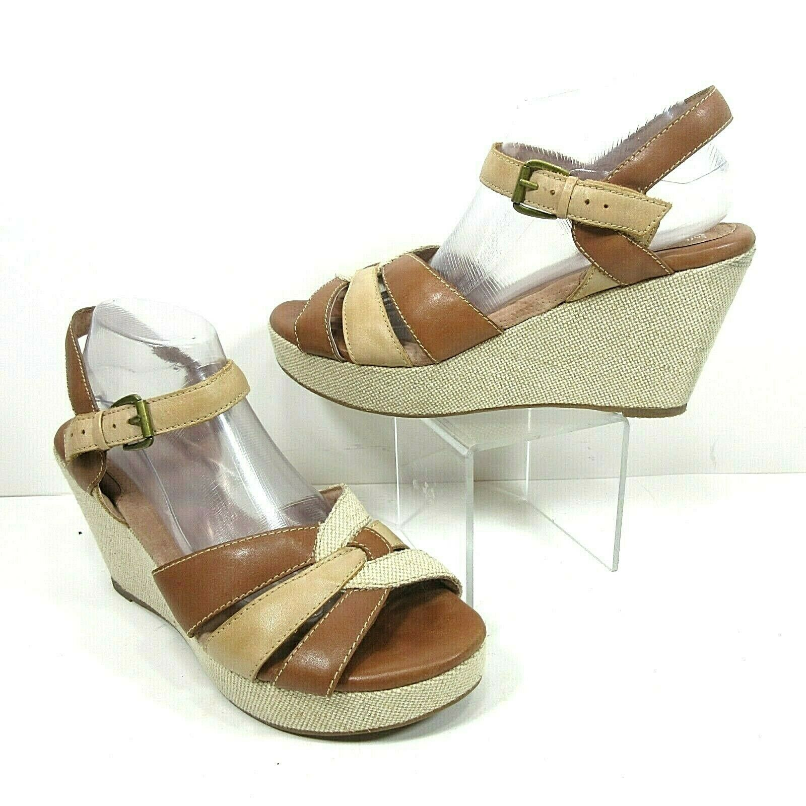 Soft Walk Size 12 M St. Helena Natural Canvas Leather Wedge Platform Sandals