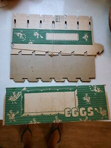 5 Vintage Self Locking Egg Cartons  Cardboard  Boxes Antique Ephemera farm eggs