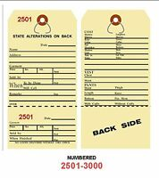 Alteration Tags 6-1/4 X 3-1/8 2-sided Manila With Button Slot Numbered2501-3000