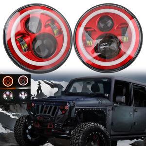 2x7-039-039-pulgadas-redondo-ojo-de-angulo-de-Halo-LED-Faros-Para-Jeep-Wrangler-JK-Lj-TJ-97-2018