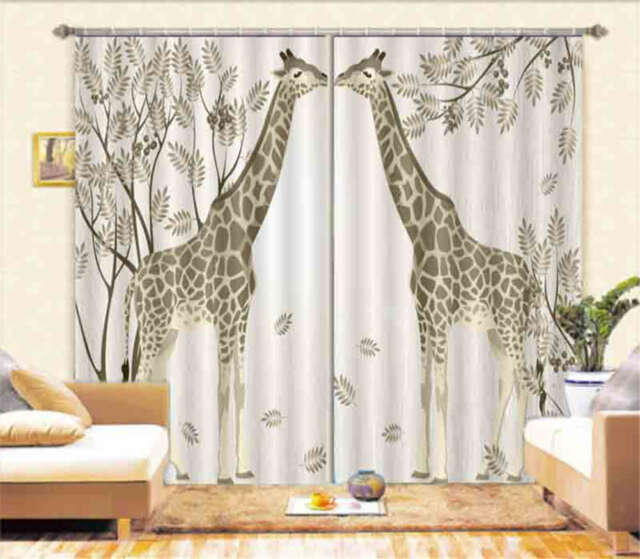 Two Kissing Giraffes 3D Curtain Blockout Photo Printing Curtains Drape Fabric