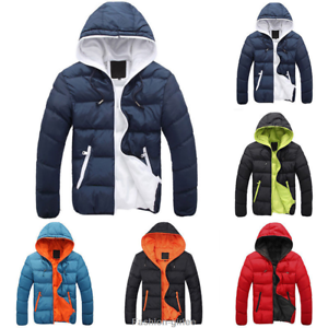 Casual-Men-Winter-Solid-Hooded-Thick-Padded-Jacket-Zipper-Outwear-Coat-Warm-Lot