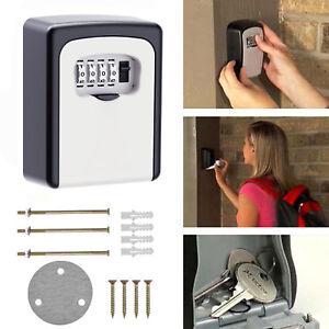 Weather-Resistant-4-Digit-Wall-Mounted-Combination-Lock-Key-Safe-Box-Storage-AU