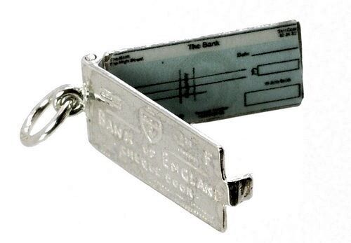 STERLING SILVER OPENING BANK OF ENGLAND CHEQUE BOOK CHARM