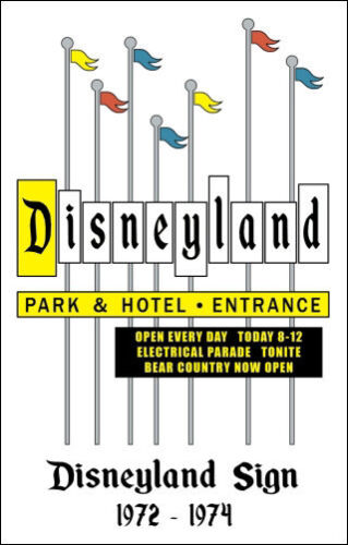 Disneyland Sign Poster 1972-1974 Marquee Entrance Disney Buy Any 2 Get 1 Free