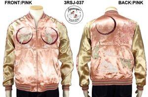 5c2259537 Details about Sukajan Rabbit Sakura Moon Pink Satin Embroidery Souvenir  Jacket Japanesque