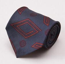 NWT $195 LUCIANO BARBERA Slate Gray-Blue Art Deco Print Handmade Silk Tie
