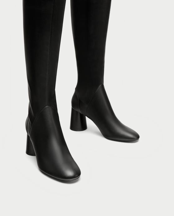 Zara New AW17 Over The Knee Faux Leather Block Heels Boots Size 6 EUR 36 NWT