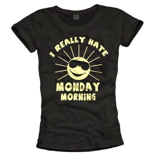 Lustiges Shirt mit Druck MONTAG Damen Top Fun T-Shirt schwarz S M L 36 38 40 NEU