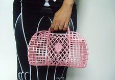 Sac à main panier basket plastique rose jelly rétro vintage shopping à assembler