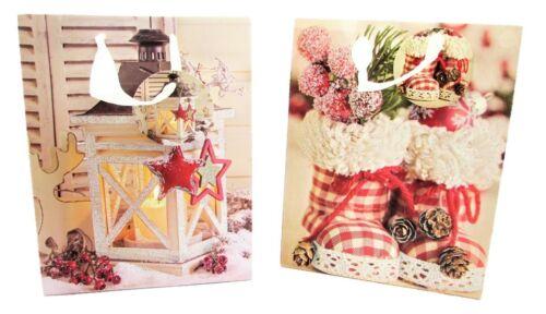 24 Geschenktüten mit Glitzer Weihnachten Laterne Stiefel 18 x 10 x 23 cm