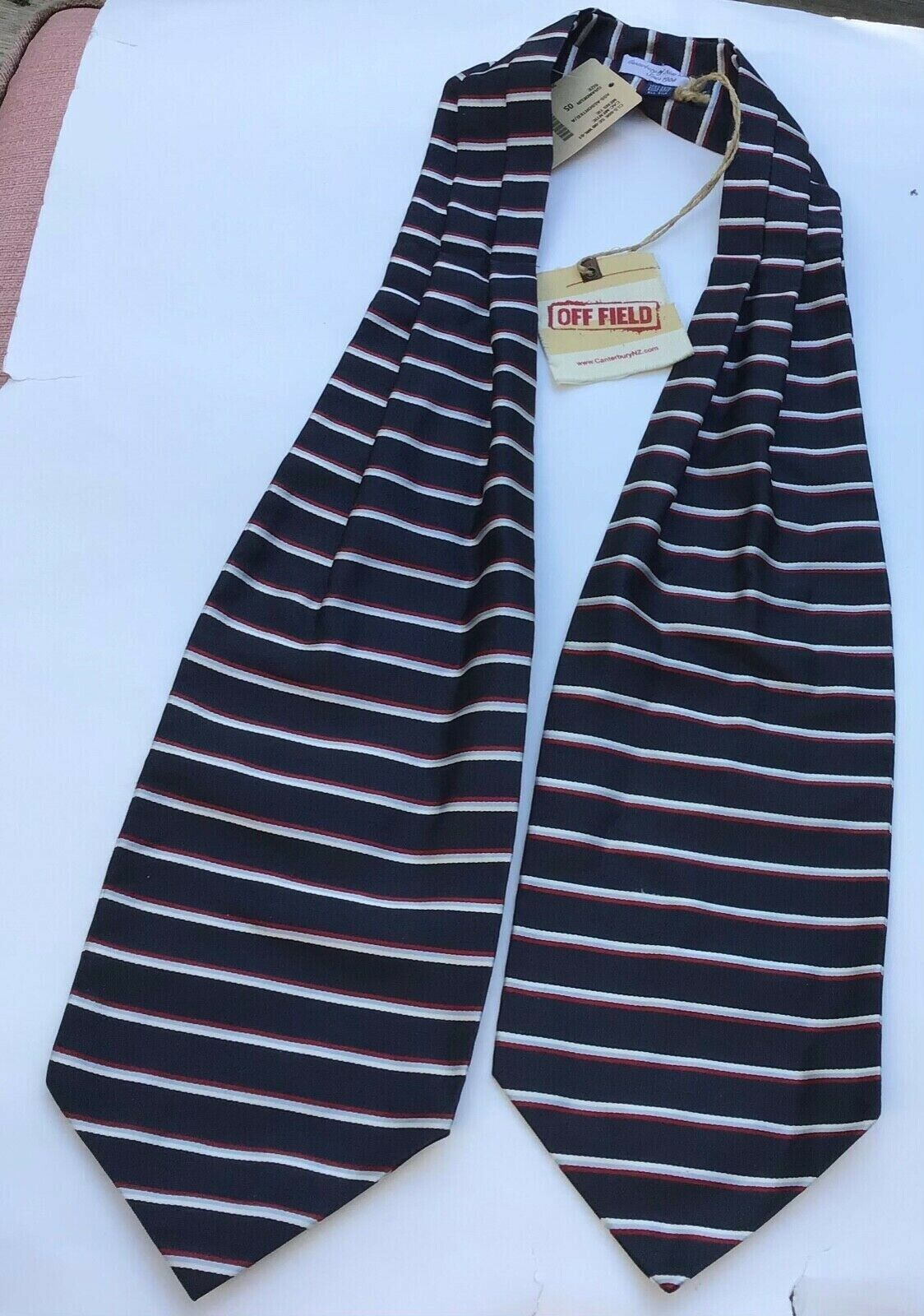 Canterbury of New Zealand navy striped silk Ascot ,made in Italy NWT