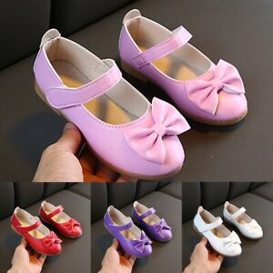 Children-Infant-Kids-Baby-Girls-Solid-Bowknot-Single-Princess-Casual-Shoes-AU