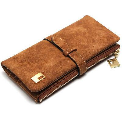 Fashion Women Girls Coffee Leather Clutch Wallet Long Card Holder Purse Handbag