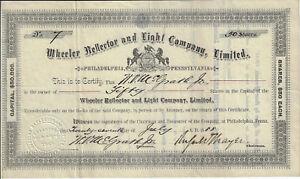 PENNSYLVANIA-1888-Wheeler-Reflector-amp-Light-Company-Ltd-Stock-Certificate-7