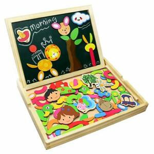 Wooden jigsaw puzzles Double Face Magnétique Writing Board for Kids planche à dessin