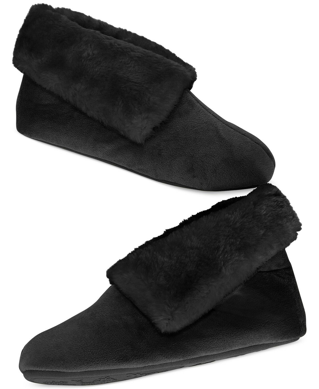 NWT Charter Club Black Microvelour Memory Foam Bootie Slippers Booties S
