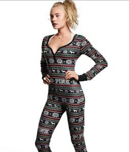 a3645fc870 Image is loading Victorias-Secret-Pink-Thermal-Fair-Isle-Christmas -Snowflakes-