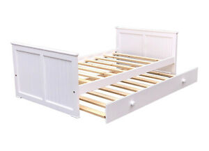Brand-New-Americas-Kids-Day-Bed-Twin-Size-amp-Trundle-White-Finish-Solid-Pine-Wood