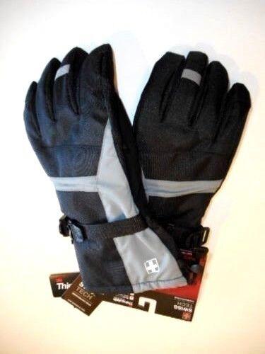 L//XL Swiss Tech Snow gloves Mens ski gloves Black Gray Outerwear Waterproof S//M