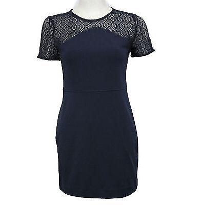 Banana Republic Women Lace Navy Blue Summer Dress Fashion Petite 00 0 2 4 6 8 10