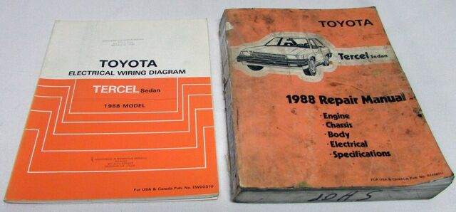 1988 Toyota Tercel Sedan Service Shop Repair Manual  U0026 Electrical Wiring Diagram
