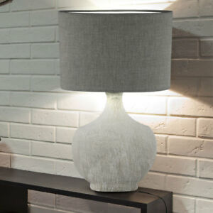 Design-Tisch-Lampe-Wohnraum-Lese-Beistell-Leuchte-Keramik-Textil-Strahler-grau