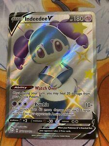 Pokemon Shining Fates Indeedee V Shiny Full Art Holo Rare SV114/SV122 NM/Mint