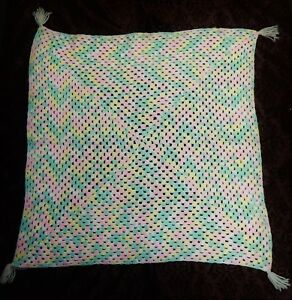 Afghan-Pastel-Color-Baby-Blanket-Handmade-Crochet-Square-Throw-Yarn