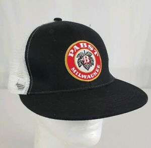 e39015fdab1e6 Pabst Milwaukee Snapback Mesh Trucker Hat Cap Black White PBR Blue ...