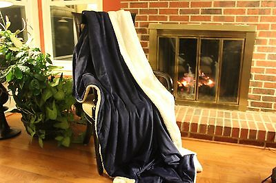 Tache Royal Blue White Super Soft Sherpa Winter Night Microfleece Throw Blanket