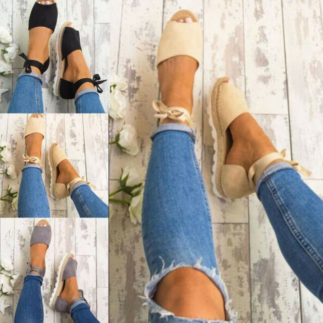 WOMENS NEW FLAT LOW WEDGE HEELS ESPADRILLES SUMMER LADIES SANDALS SHOES SIZE