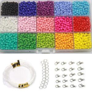 1-Box-15-Farben-Anhaenger-Glas-Perlen-DIY-Armband-Halskette-Schmuck-Herstellung