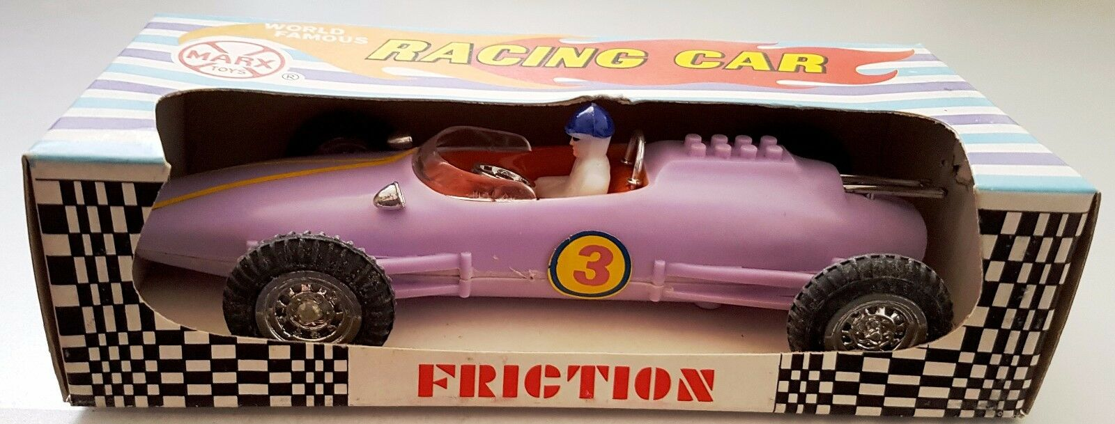 MARX Toys 1970 World Famous RACING CAR Friction Drive in ORIGINAL BOX - purplec  3