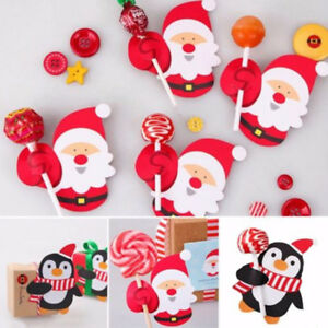image is loading 50pcs christmas santa penguin diy lollipop stick candy - Lollipop Christmas Decorations