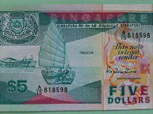 Singapore-5-Banknote-Ship-Series-features-Twakow-1987-UNC-amp-BEST-MINT-Note
