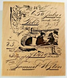 Hampton Art Wood Mounted Rubber Stamp French Script Background