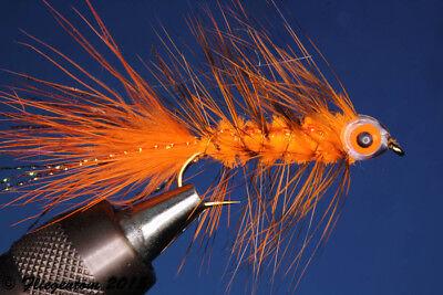 Fliegentom Streamer 3 Stück Wooley Bugger mit Kopfperle schwarz//rot
