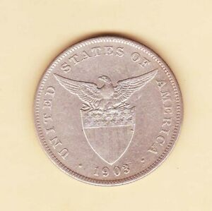 US-Philippines-1903-P-One-Peso-Silver-Crown-1-peso-XF-AU-condition
